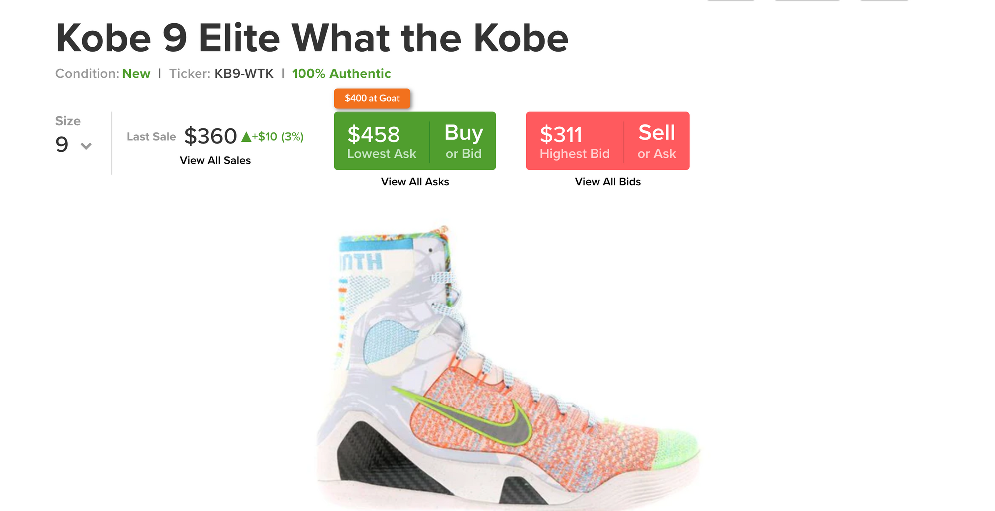 StockX Screenshot showing a shoe with a high bid ask spread